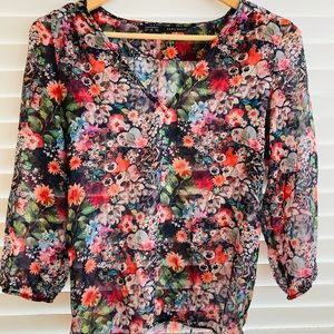 Zara Floral 3/4 Sleeve Sheer Top